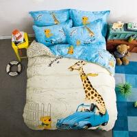 �和�床上用品卡通棉四件套小汽�床��1.5m床�p人被套床笠可定做