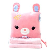 兔子毛绒玩具可爱公仔睡觉抱枕布娃娃抱枕被子两用生日礼物送女生 高档法兰绒抱枕毯1*1.8米