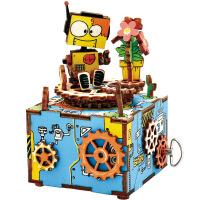若态3D木质手工DIY创意礼物立体拼图拼板儿童八音盒天空之城