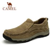 camel 骆驼男鞋夏季透气休闲鞋男牛皮套脚镂空鞋百搭男士休闲皮鞋