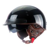 摩托车复古半盔男女四季夏季防晒瓢盔半覆式轻便电动车头盔