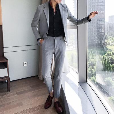 №【2019新款】冬天穿的男士韩版潮流西服两件套修身刺绣休闲西装套装礼服