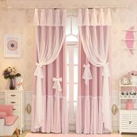 韩式粉色蕾丝公主风窗帘成品卧室全遮光儿童飘窗落地窗双层纱帘布 (90%遮光)粉色3层 布+纱