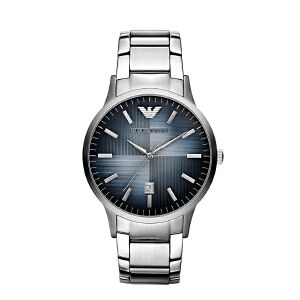 Armani阿玛尼官方蓝色渐变钢带石英表圆形时尚商务男士手表AR2472