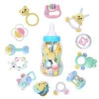 奶瓶装新生儿手摇铃婴儿玩具摇铃1岁9女孩男宝宝牙胶0-3-6-12个月 抖音