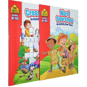 【8-10岁填字练习2册】School Zone Crosswords/Word Searches Activity Zone Book 儿童填字游戏词汇练习 附答案 英文原版
