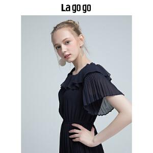 【清仓3折价149.7】Lagogo2019夏季新款女装气质一字领荷叶边长裙松紧腰雪纺连衣裙HALL335A54