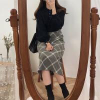 №【2019新款】冬天美女穿的秋冬高腰中长款复古奶茶格子裙半身裙A字裙女长裙子伞裙 +