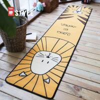 卡通长条地垫厨房卧室床边防滑垫脚垫垫子韩式可爱家用雪尼尔地毯 狮子和老虎头地垫(雪尼尔)