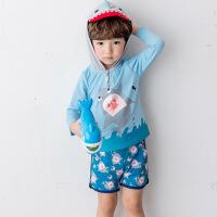 儿童长袖鲨鱼造型连帽分体泳衣潜水服男童平裤泳装2018