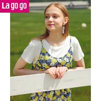 【5折价144】Lagogo2018夏季新款时尚印花雪纺吊带裙连衣裙两件套女内搭白THALL353C25