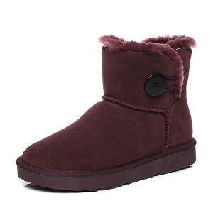 Teenmix/天美意2017冬酒红色牛剖层皮平跟雪地靴女短靴(毛里)33501DD7