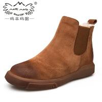 玛菲玛图女鞋 加绒靴子女7新款真皮切尔西短靴女平底皮毛一体雪地靴设计师女鞋530-33