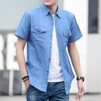 夏季牛仔衬衫男短袖薄款上衣服男宽松青年纯色衬衣大码纯棉男装潮