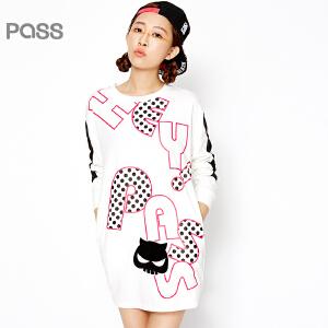 PASS原创潮牌春装新款 波点字母图案棉质宽松撞色袖子H型短连衣裙6612411007