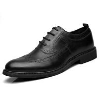 秋季男士英伦商务休闲皮鞋青年尖头韩版内增高复古布洛克雕花男鞋 黑 8175