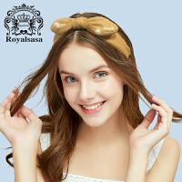 皇家莎莎发饰经典纯色OL绢纱蝴蝶结宽发箍头箍头饰女发带发卡子