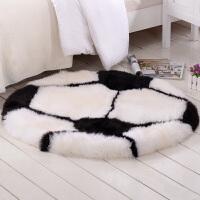 羊毛皮地毯卧室地毯儿童房间足球橄榄球可爱毛绒地毯皮毛一体 Footba 足球 直径1