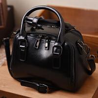 女士小包包2018新款复古油蜡牛皮小方包双拉链手提包斜挎牛皮女包SN6549