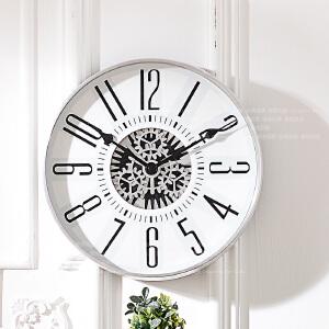 奇居良品 创意墙面装饰钟表白色大数字齿轮挂钟 时间回忆