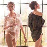 新款夜店低胸白衬衫睡衣女性感诱惑男友风雪纺长袖透明薄衬衣夏季