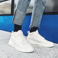 冬季白色高帮鞋韩版潮流男士运动休闲潮鞋加绒男鞋子秋季百搭板鞋