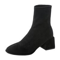 靴子女 短靴粗跟2018秋冬新款韩版瘦瘦靴女方头中跟马丁靴及踝靴