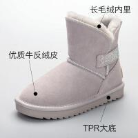 儿童雪地靴大码棉靴真皮短靴2018新款冬季韩版加绒防滑