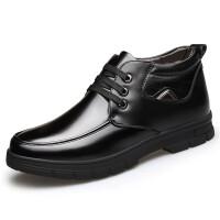 男鞋爸爸鞋冬季新款真皮加绒中老年棉鞋休闲高帮皮鞋防滑保暖男靴 黑色 系带