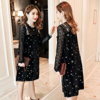 2018春季时尚新款韩版大码宽松显瘦蕾丝打底孕妇连衣裙 黑色