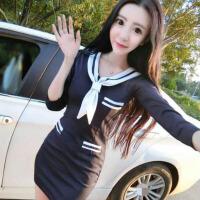 夜店女装春装新款名媛性感拼色修身显瘦包臀长袖海军风连衣裙