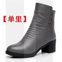 秋冬加绒保暖女靴真皮妈妈靴子中跟粗跟圆头中筒棉靴手工加厚短靴SN7255