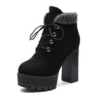 跟短靴粗跟2018秋冬马丁靴百搭韩版厚底瘦瘦短筒女靴子冬靴潮真皮 黑色