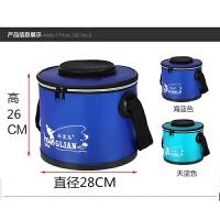 加厚鱼桶鱼护桶打水桶折叠钓鱼桶活鱼箱拉杆皮桶钓箱配件垂钓用品