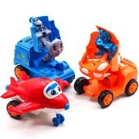 宝宝玩具车男孩儿童惯性车变形车回力小汽车飞机托马斯小火车套装 抖音 惯性变形小团队【3只装】