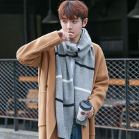 围巾男冬季简约毛线学生文艺围脖男冬天