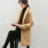 2018秋冬新款韩版时尚女大衣大码中长款绒呢外套女装修身