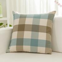 风格子客厅沙发抱枕套不含芯床头靠垫四方正方形靠枕简约现代