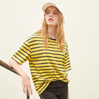 【1件3折到手价:40.8】美特斯邦威短袖T恤女黄色条纹t恤宽松上衣网红内搭新款夏装