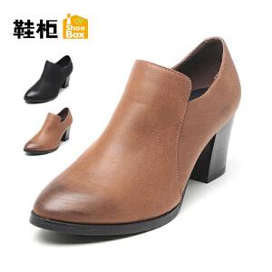 达芙妮集团 鞋柜尖头休闲时尚侧拉链粗跟女单鞋