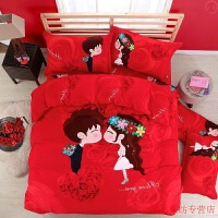 床上四件套结婚抖音网红床上结婚被子喜被婚庆情侣四件套纯棉结婚用的婚礼欧式红色欧美风 桔红色 天长地久