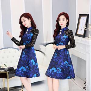 气质蕾丝中长款显瘦连衣裙韩国2018新款春装修身拼接长袖a字裙子