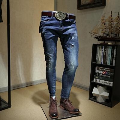 破洞牛仔裤男潮流2018新款修身小脚裤子个性刮烂韩版男士百搭长裤 蓝色 发货周期:一般在付款后2-90天左右发货,具体发货时间请以与客服协商的时间为准