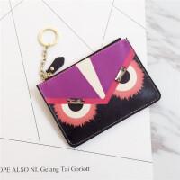卡通新款十字纹牛皮零钱包日韩女钥匙包卡包硬币包薄款小钱包