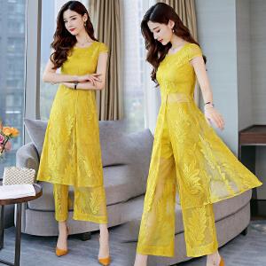 2018夏季新款韩版时尚套装小香风夏天蕾丝连衣裙女装时髦两件套潮