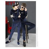 冬季新款运动套装女韩版时尚卫衣三件套加绒加厚休闲运动服 圆领鹰 男款100-115斤