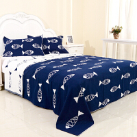 纯棉三层纱布加大毛巾被双人单人可铺可盖 床单 乳白色 3层韩国鱼蓝