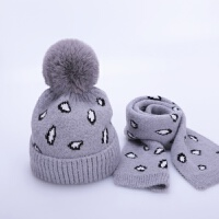 儿童帽子冬季围巾两件套装加绒保暖针织宝宝毛线帽2-8岁3男童女童 灰色 套帽SH豹纹 均码