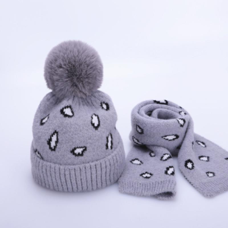 儿童帽子冬季围巾两件套装加绒保暖针织宝宝毛线帽2-8岁3男童女童 灰色 套帽SH豹纹 均码 发货周期:一般在付款后2-90天左右发货,具体发货时间请以与客服协商的时间为准