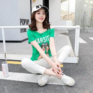 新款ins短袖t恤女韩版宽松一字领纱网夏装时尚漏肩上衣